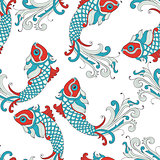 Vector Seamless Pattern with karp fishes