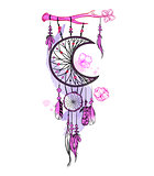Vector illustration with hand drawn dream catcher and watercolor stains. Feathers and beads.