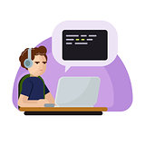 Young programmer man character coding. Vector flat cartoon illustration