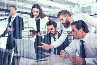 Business people in office connected on internet network. concept of startup company. double exposure