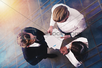 Business people works with statistics number of the company. double exposure