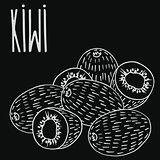Chalkboard ripe kiwi fruit