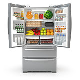 Open fridge refrigerator  full of food and drinks isolated