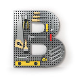 Letter B. Alphabet from the tools on the metal pegboard isolated