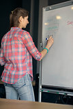 Young Woman Writes on White Board During Lecture or Project Presentation. Business or Education Concept.