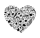 Abstract heart of musical notes