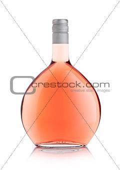 Luxury round bottle of pink rose wine on white