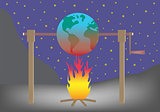 Planet earth roasting over fire Global warming concept