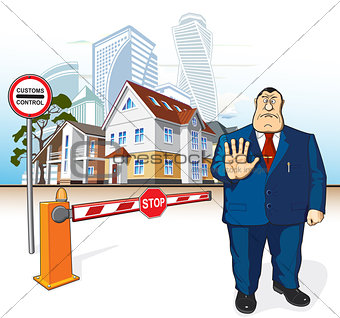 Boss prohibits, barrier, stop sign, buildings