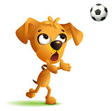 Funny yellow dog goalkeeper catches soccer ball