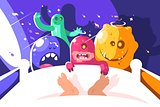 Night cute monsters bother sleeping in bed