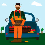 Bearded man and eco food delivery. Cartoon car with green food.