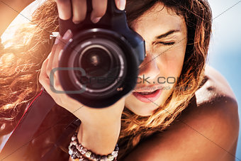 Beautiful photographer girl