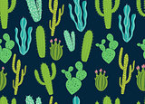 Seamless Cactus Background Pattern Design