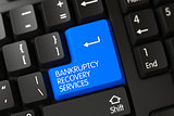 Keyboard with Blue Button - Bankruptcy Recovery Services. 3d