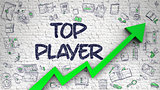 Top Player Drawn on Brick Wall. 3d