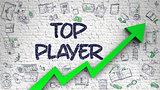 Top Player Drawn on Brick Wall. 3d