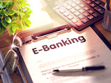 E-Banking - Text on Clipboard. 3d
