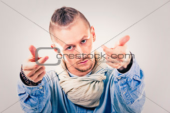 male contemporary hip hop dancer in denim