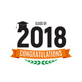 Congratulations on Graduation 2018 Class Background Vector Illustration