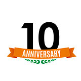 Template 10 Years Anniversary Background with Ribbon Vector Illustration