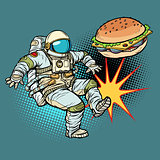Astronaut kicks Burger fast food, proper nutrition