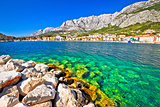 Makarska turquoise waterfront and Biokovo mountain view