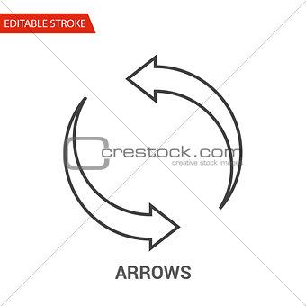 Arrows Icon. Thin Line Vector Illustration
