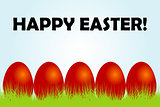 Easter card with red eggs and grass