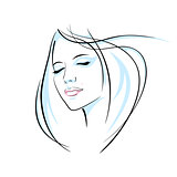 Girl head illustration. Eye, ear, hair, lips, neck