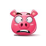 Funny, cute, crazy pig icon. Sad smiley. Symbol of 2019.