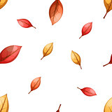 Cartoon leaf seamless pattern. Autumn illustration.