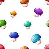 Cartoon seamless pattern. Color mushroom.