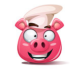 Funny, cute, crazy pig icon. Cook smiley. Symbol of 2019.