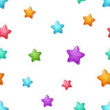 Star cartoon pattern. Blue, pink, green, yellow.