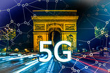 5G or LTE presentation. Paris modern city on the background