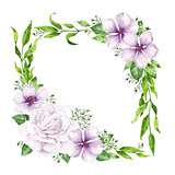 Flower frame in watercolor style isolated on white background. Template for invitation card. Square composition. Place for text.
