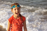 Girl Laughing Sea