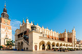 Tower Hall and shopping arcade in the main square of Krakow in P