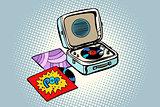 Retro record player, gramophone. Pop vinyl