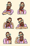 set collection different emotions. Stylish bearded hipster with
