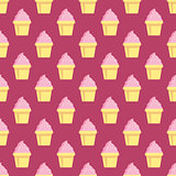 Cupcake vector pattern pink background