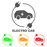 Icons of electric cars, vector. Side view of the electric vehicle. The indication of the battery level in the electric car
