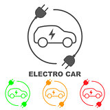 Icons of electric cars, vector. The indication of the battery level in the electric car