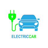 Electro car. Simple Related Vector Icon Set for Video, Mobile Apps, Web Sites, Print Projects and Your Design. Flat Illustration on White Background