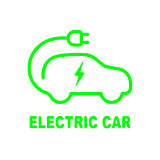 Electric car battery charging sign. Icon with flat style.