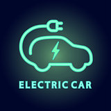 Vector electric car Icon. Logo element illustration in neon light style