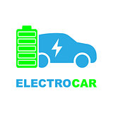 Electric car refill icon, vector. Electric refueling. Eco transportation.