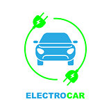 Electro car logo, flat, digital icon for web and mobile