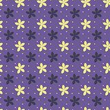 Ultra violet seamless pattern with flowers and dots. Vector illustration